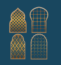 muslim window border collection set vector image