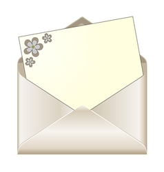 Open envelope with floral stationery vector