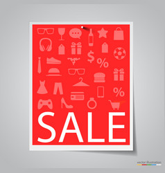 Paper sale banner on gray background vector