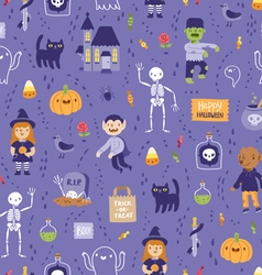 Purple halloween seamless super pattern vector