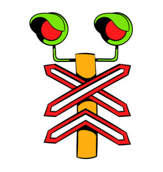 Rail crossing signal icon icon cartoon vector