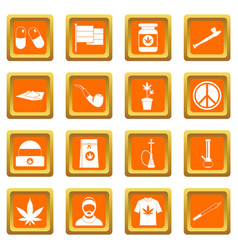 Rastafarian icons set orange vector