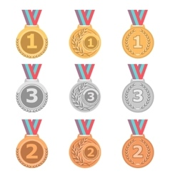 Set of gold silver and bronze medals in different vector