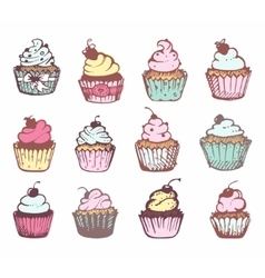 Sketches of a variety of cupcakes vector image vector image