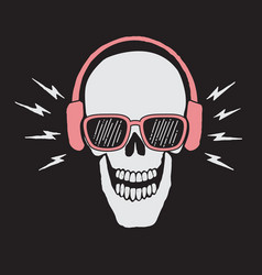 Skull listen a music in headphones vector