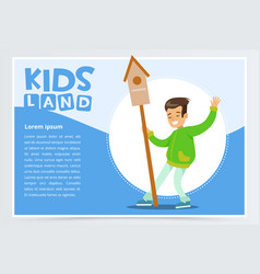 Teen boy with birdhouse eco concept kids land vector