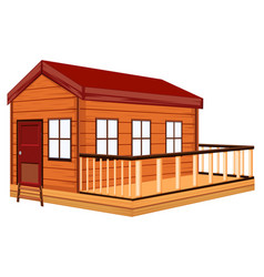 Wooden cottage with terrace vector