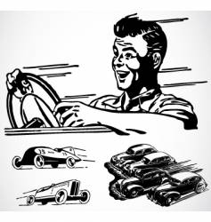 retro car graphics vector image