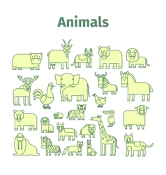 Animals line icons with strokes vector
