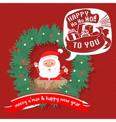 Merry christmas greeting cardsanta hohoho vector