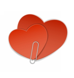 Two heart paper clip vector
