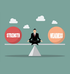 balancing between strength and weakness vector image