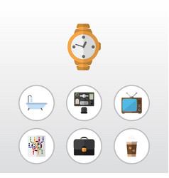 Flat icon oneday set of bureau cappuccino router vector