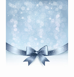 Christmas Holiday background with gift glossy bow vector image
