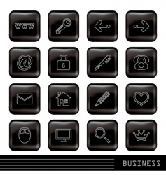 Glossy black icons set vector