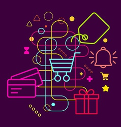 Symbols of shopping on abstract colorful dark vector