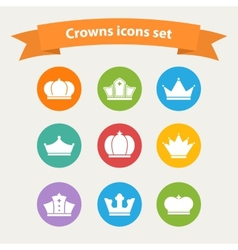 Icons set of different white crowns shapessigns vector