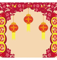 Lanterns will bring good luck and peace to prayer vector