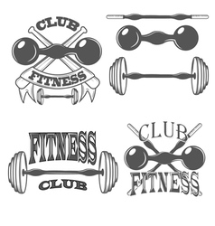 Fitness club logos and pictures vector