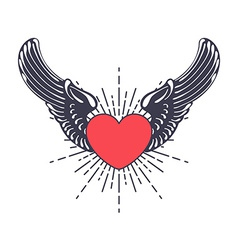 Heart angel design elements vector