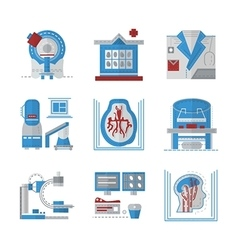 Mri flat color icons vector