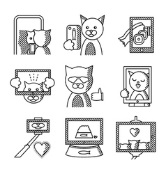 Flat line icons for selfie lifestyle vector