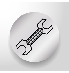 Wrench tool on round button icon vector