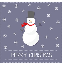 Cartoon snowman and snowflakes violet background vector