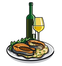 Grilled salmon and wine vector