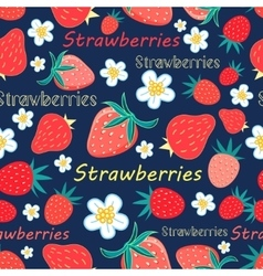 Seamless pattern with a strawberry vector