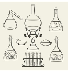 Alchemical vessels or vintage lab equipment vector image vector image
