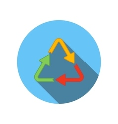 Arrows different colors in triangle flat icon vector