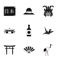Attractions of Japan icons set simple style vector image