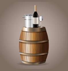 Barrel bottle wine drink ice bucket vector
