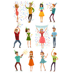 birthday party celebration funny people set vector image vector image
