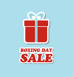 boxing day sale card with gift box sticker vector image vector image