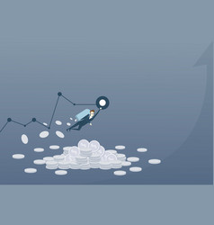 Business man with jet pack over finance graph up vector