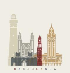 casablanca skyline poster vector image vector image
