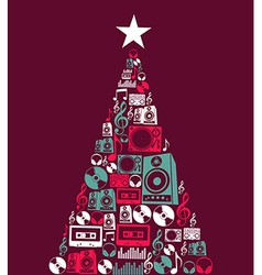 Christmas music objects tree vector image