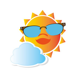 colorful cartoon sun with glasses and cloud vector image