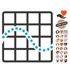 Function chart icon with dating bonus vector
