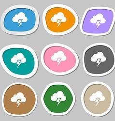 Heavy thunderstorm symbols multicolored paper vector
