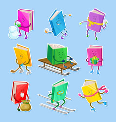 humanized childish books characters with smiling vector image