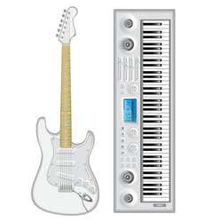 Isolated image of guitar and synthesizer vector