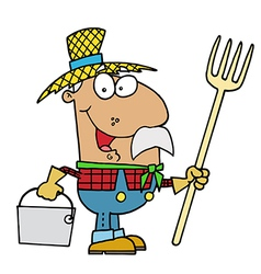 Male Hispanic Farmer Carrying A Rake And Pail vector image