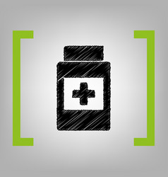 Medical container sign black scribble vector