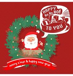 Merry christmas greeting cardsanta hohoho vector