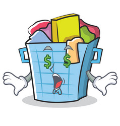 Money eye laundry basket character cartoon vector