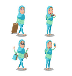 Muslim woman cartoon travel set vector