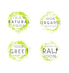 natural organic food labels design vector image